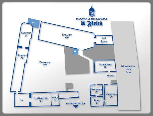 Mapa sálů U Fleků